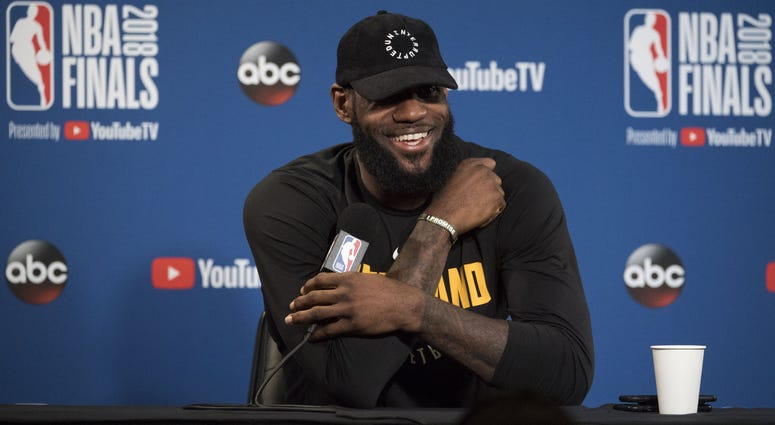 Cleveland Cavaliers forward LeBron James (23) addresses the media in a press conference during NBA Finals media day at Oracle Arena