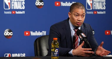 Cleveland Cavaliers head coach Tyronn Lue speaks with media following game one of the 2018 NBA Finals at Oracle Arena