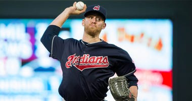 Jun 1, 2018; Minneapolis, MN, USA; Cleveland Indians relief pitcher Neil Ramirez (58) pitches in the fifth inning against Minnesota Twins at Target Field.