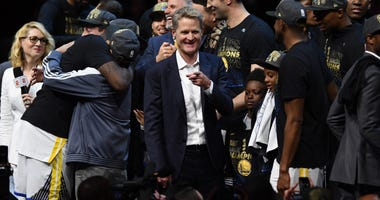 Golden State Warriors head coach Steve Kerr reacts after defeating the Cleveland Cavaliers in game four of the 2018 NBA Finals at Quicken Loans Arena.