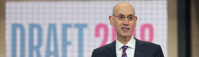 Jun 21, 2018; Brooklyn, NY, USA; NBA commissioner Adam Silver speaks before the first round of the 2018 NBA Draft at the Barclays Center. Mandatory Credit: Brad Penner-USA TODAY Sports