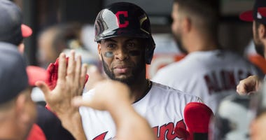 Cleveland Indians designated hitter Yandy Diaz (36) celebrates after scoring during the fourth inning against the Baltimore Orioles at Progressive Field.