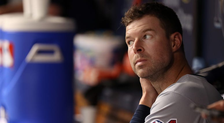 Cleveland Indians starting pitcher Corey Kluber (28) looks on during the first inning against the Tampa Bay Rays at Tropicana Field.