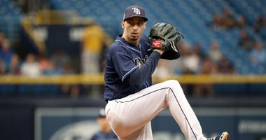 Sep 12, 2018; St. Petersburg, FL, USA; Tampa Bay Rays starting pitcher Blake Snell (4) throws a pitch during the first inning against the Cleveland Indians at Tropicana Field.