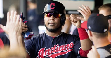 Sep 15, 2018; Cleveland, OH, USA; Cleveland Indians designated hitter Edwin Encarnacion (10) celebrates after scoring during the first inning against the Detroit Tigers at Progressive Field. Mandatory Credit: Ken Blaze-USA TODAY Sports