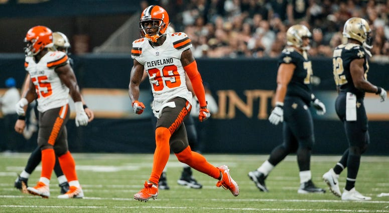 Cleveland Browns cornerback Terrance Mitchell (39) celebrates after a turnover by the New Orleans Saints during the second quarter at the Mercedes-Benz Superdome.