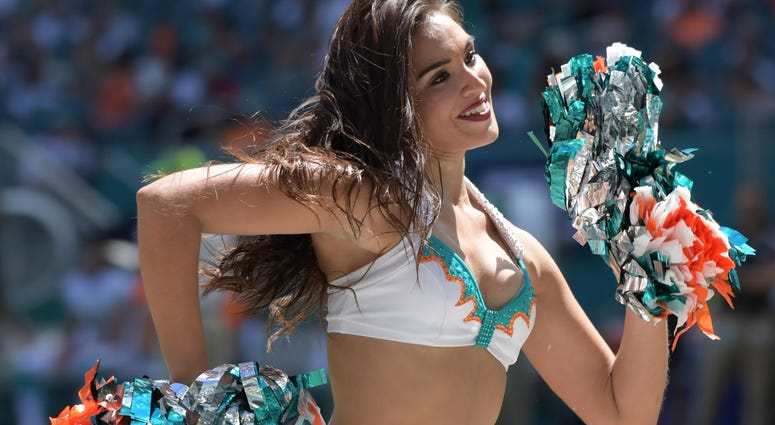 Sep 23, 2018; Miami Gardens, FL, USA; Miami Dolphins cheerleaders perform during the game against the Oakland Raiders at Hard Rock Stadium. Mandatory Credit: Kirby Lee-USA TODAY Sports