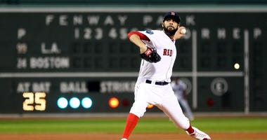 Oct 24, 2018; Boston, MA, USA; Boston Red Sox pitcher David Price throws a pitch against the Los Angeles Dodgers in the first inning in game two of the 2018 World Series at Fenway Park. Mandatory Credit: Maddie Meyer/Pool Photo via USA TODAY Sports