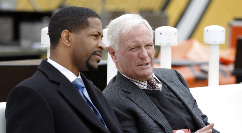 Oct 28, 2018; Pittsburgh, PA, USA; Cleveland Browns vice president Andrew Berry (L) talks with Browns owner Jimmy Haslam (R) on the bench before the Browns play the Pittsburgh Steelers at Heinz Field. Mandatory Credit: Charles LeClaire-USA TODAY Sports