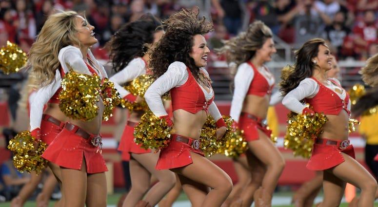 Nov 1, 2018; Santa Clara, CA, USA; San Francisco 49ers gold rush cheerleaders perform during the game against the Oakland Raiders at Levi's Stadium. Mandatory Credit: Kirby Lee-USA TODAY Sports