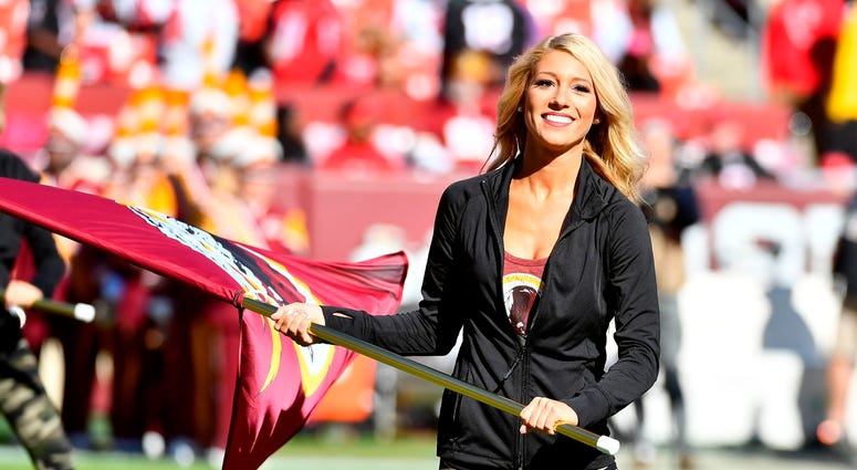 Nov 4, 2018; Landover, MD, USA; Washington Redskins cheerleader performs on the field before a game between the Washington Redskins and the Atlanta Falcons at FedEx Field. Mandatory Credit: Brad Mills-USA TODAY Sports