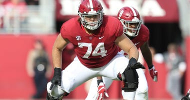 Nov 17, 2018; Tuscaloosa, AL, USA; Alabama Crimson Tide offensive lineman Jedrick Wills Jr. (74) during the second half against The Citadel Bulldogs at Bryant-Denny Stadium. Mandatory Credit: Marvin Gentry-USA TODAY Sports