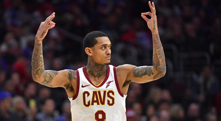Cleveland Cavaliers guard Jordan Clarkson (8) celebrates his three point shot against the Philadelphia 76ers during the fourth quarter at Wells Fargo Center.