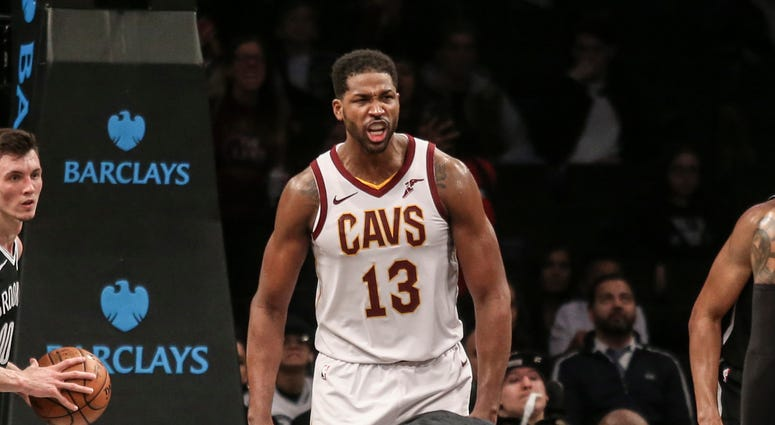 Dec 3, 2018; Brooklyn, NY, USA; Cleveland Cavaliers center Tristan Thompson (13) celebrates after scoring the game winning basket in a 99-97 victory over the Brooklyn Nets at Barclays Center. Mandatory Credit: Wendell Cruz-USA TODAY Sports