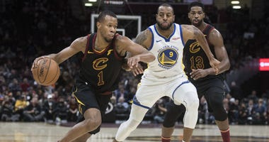 Dec 5, 2018; Cleveland, OH, USA; Cleveland Cavaliers guard Rodney Hood (1) drives to the basket against Golden State Warriors guard Andre Iguodala (9) during the second half at Quicken Loans Arena. Mandatory Credit: Ken Blaze-USA TODAY Sports