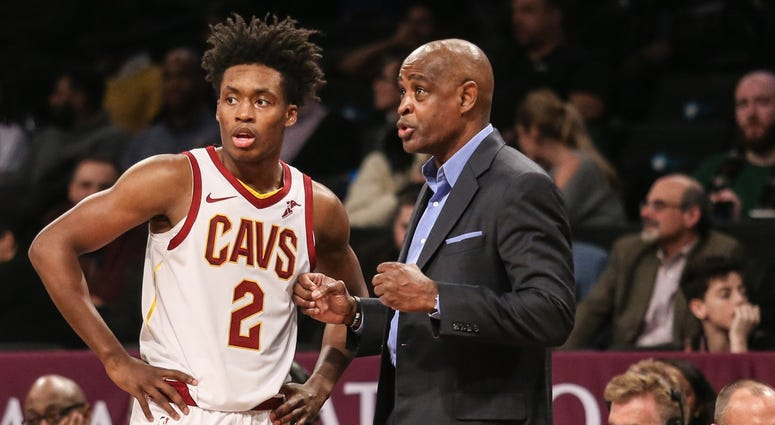 Dec 3, 2018; Brooklyn, NY, USA; Cleveland Cavaliers head coach Larry Drew and guard Collin Sexton (2) at Barclays Center. Mandatory Credit: Wendell Cruz-USA TODAY Sports