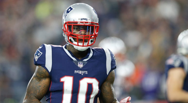 Dec 2, 2018; Foxborough, MA, USA; New England Patriots wide receiver Josh Gordon (10) reacts during the second quarter against the Minnesota Vikings at Gillette Stadium. Mandatory Credit: Greg M. Cooper-USA TODAY Sports