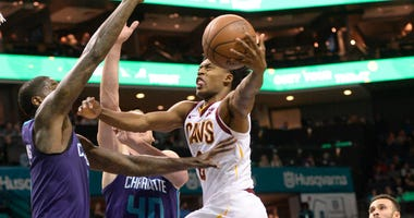 Dec 19, 2018; Charlotte, NC, USA; Cleveland Cavaliers guard Collin Sexton (2) drives in against Charlotte Hornets forward Marvin Williams (2) during the second half at the Spectrum Center. Hornets won 110-99. Mandatory Credit: Sam Sharpe-USA TODAY Sports
