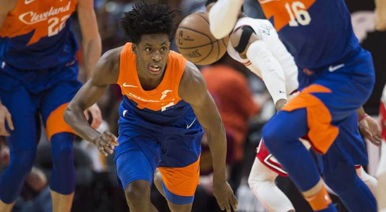Dec 23, 2018; Cleveland, OH, USA; Cleveland Cavaliers guard Collin Sexton (2) eyes the ball on a fast break during the first half against the Chicago Bulls at Quicken Loans Arena. Mandatory Credit: Ken Blaze-USA TODAY Sports