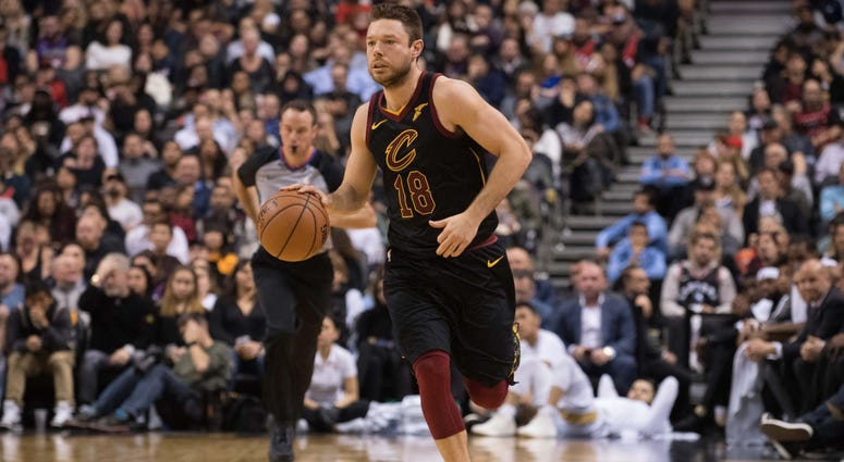 Dec 21, 2018; Toronto, Ontario, CAN; Cleveland Cavaliers guard Matthew Dellavedova (18) controls a ball during the third quarter against the Toronto Raptors at Scotiabank Arena. Mandatory Credit: Nick Turchiaro-USA TODAY Sports