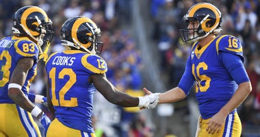 Dec 30, 2018; Los Angeles, CA, USA; Los Angeles Rams wide receiver Brandin Cooks (12) celebrates scoring a second quarter touchdown against the San Francisco 49ers with quarterback Jared Goff (16) at Los Angeles Memorial Coliseum. Mandatory Credit: Robert