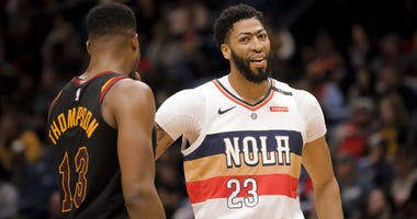 Jan 9, 2019; New Orleans, LA, USA; New Orleans Pelicans forward Anthony Davis (23) and Cleveland Cavaliers center Tristan Thompson (13) talk during the second quarter at the Smoothie King Center. Mandatory Credit: Derick E. Hingle-USA TODAY Sports