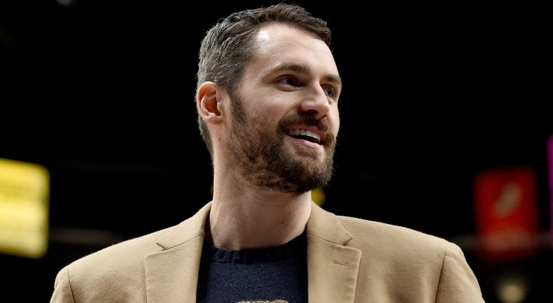 Jan 16, 2019; Portland, OR, USA; Cleveland Cavaliers forward Kevin Love smiles as he looks on during the second half of the game against the Portland Trail Blazers at the Moda Center. Mandatory Credit: Steve Dykes-USA TODAY Sports