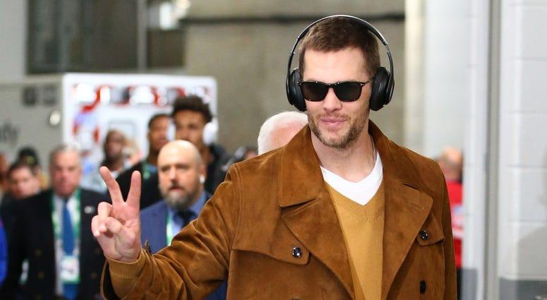 Feb 3, 2019; Atlanta, GA, USA; New England Patriots quarterback Tom Brady arrives before Super Bowl LIII against the Los Angeles Rams at Mercedes-Benz Stadium. Mandatory Credit: Mark J. Rebilas-USA TODAY Sports