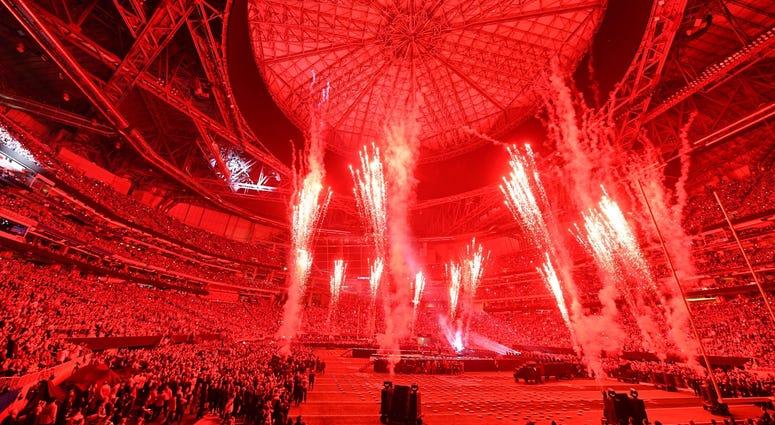 Feb 3, 2019; Atlanta, GA, USA; Maroon 5 performs during halftime of Super Bowl LIII at Mercedes-Benz Stadium. Mandatory Credit: John David Mercer-USA TODAY Sports