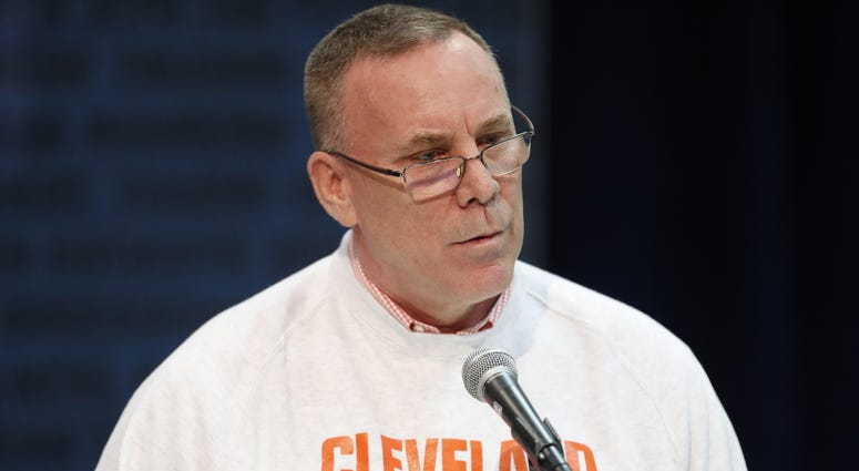 Feb 28, 2019; Indianapolis, IN, USA; Cleveland Browns general manager John Dorsey speaks to the media during the 2019 NFL Combine at the Indianapolis Convention Center. Mandatory Credit: Brian Spurlock-USA TODAY Sports