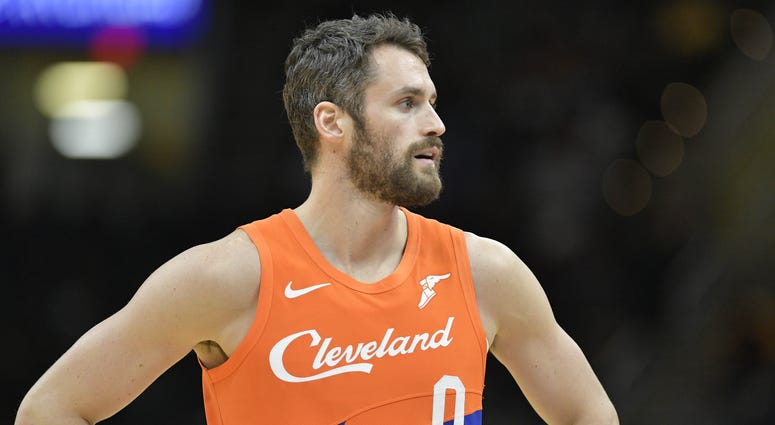 Mar 26, 2019; Cleveland, OH, USA; Cleveland Cavaliers forward Kevin Love (0) reacts in the second quarter against the Boston Celtics at Quicken Loans Arena. Mandatory Credit: David Richard-USA TODAY Sports