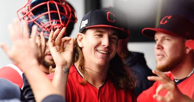 Apr 7, 2019; Cleveland, OH, USA; Cleveland Indians starting pitcher Mike Clevinger (52) celebrates after ending the fourth inning against the Toronto Blue Jays at Progressive Field. Mandatory Credit: Ken Blaze-USA TODAY Sports