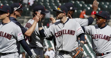 Apr 9, 2019; Detroit, MI, USA; Cleveland Indians shortstop Eric Stamets (7) celebrates with teammates after the game against the Detroit Tigers at Comerica Park. Mandatory Credit: Raj Mehta-USA TODAY Sports