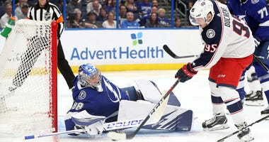 Columbus Blue Jackets center Matt Duchene (95) scores a goal on Tampa Bay Lightning goaltender Andrei Vasilevskiy (88) during the second period of game two of the first round of the 2019 Stanley Cup Playoffs at Amalie Arena.