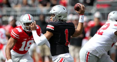 Ohio State Buckeyes quarterback Justin Fields (1) during the first half of the Spring Game at Ohio Stadium.