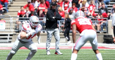 Ohio State Buckeyes head coach Ryan Day during the second half of annual Spring Game at Ohio Stadium.