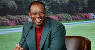 Apr 14, 2019; Augusta, GA, USA; Tiger Woods speaks to the media after winning The Masters golf tournament at Augusta National Golf Club. Mandatory Credit: Rusty Jarrett/Augusta National/Handout Photo via USA TODAY Sports