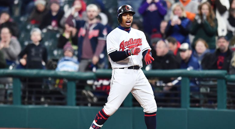 Cleveland Indians shortstop Francisco Lindor (12) celebrates after hitting a single during the second inning against the Atlanta Braves at Progressive Field.