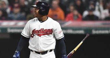 Cleveland Indians second baseman Jose Ramirez (11) walks back to the dugout after a strike out during the game against the Seattle Mariners at Progressive Field.