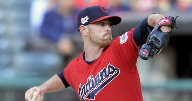 May 8, 2019; Cleveland, OH, USA; Cleveland Indians starting pitcher Shane Bieber (57) throws in the first inning against the Chicago White Sox at Progressive Field. Mandatory Credit: David Richard-USA TODAY Sports