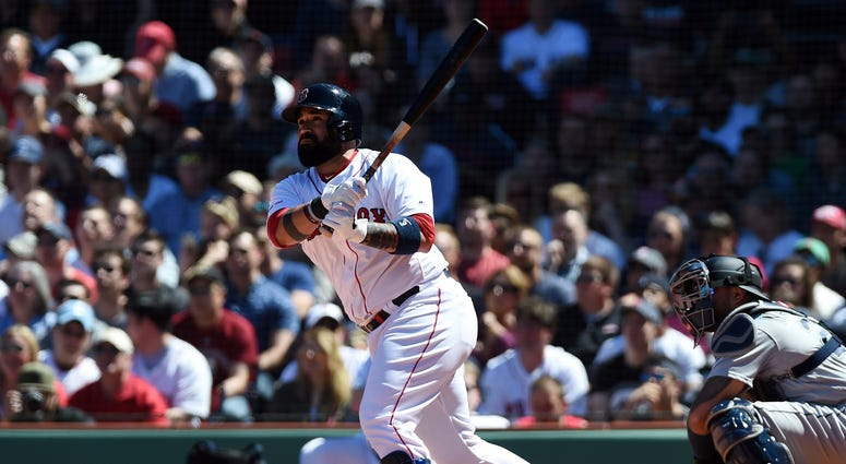 May 11, 2019; Boston, MA, USA; Boston Red Sox catcher Sandy Leon (3) hits a three run home run during the third inning against the Seattle Mariners at Fenway Park. Mandatory Credit: Bob DeChiara-USA TODAY Sports