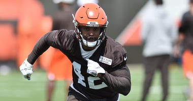 May 15, 2019; Berea, OH, USA; Cleveland Browns safety Morgan Burnett (42) runs a drill during organized team activities at the Cleveland Browns training facility. Mandatory Credit: Ken Blaze-USA TODAY Sports