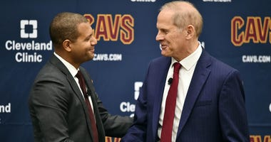May 21, 2019; Cleveland, OH, USA; Cleveland Cavaliers general manager Koby Altman (left) formally introduces new head coach John Beilein (right) during a press conference at Cleveland Clinic Courts. Mandatory Credit: Ken Blaze-USA TODAY Sports