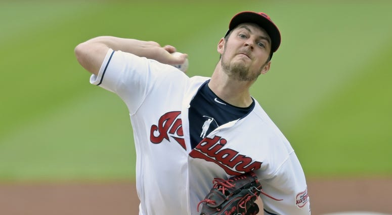 May 21, 2019; Cleveland, OH, USA; Cleveland Indians starting pitcher Trevor Bauer (47) pitches in the first inning against the Oakland Athletics at Progressive Field. Mandatory Credit: David Richard-USA TODAY Sports
