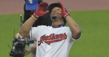 Jun 4, 2019; Cleveland, OH, USA; Cleveland Indians shortstop Francisco Lindor (12) celebrates his solo home run in the third inning against the Minnesota Twins at Progressive Field. Mandatory Credit: David Richard-USA TODAY Sports