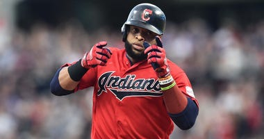 Jun 7, 2019; Cleveland, OH, USA; Cleveland Indians first baseman Carlos Santana (41) rounds the bases after hitting a home run during the sixth inning against the New York Yankees at Progressive Field. Mandatory Credit: Ken Blaze-USA TODAY Sports