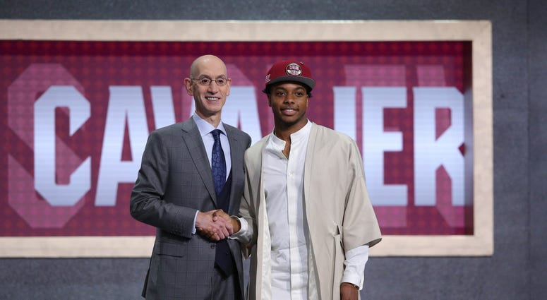 Jun 20, 2019; Brooklyn, NY, USA; Darius Garland (Vanderbilt) greets NBA commissioner Adam Silver after being selected as the number five overall pick to the Cleveland Cavaliers in the first round of the 2019 NBA Draft at Barclays Center. Mandatory Credit: