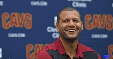 Jun 21, 2019; Independence, OH, USA; Cleveland Cavaliers general manager Koby Altman answers questions during a press conference at Cleveland Clinic Courts. Mandatory Credit: David Dermer-USA TODAY Sports