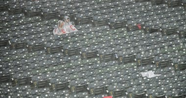 Jun 24, 2019; Cleveland, OH, USA; Fans sit in the stands during a rain delay in a game between the Cleveland Indians and the Kansas City Royals at Progressive Field. Mandatory Credit: David Richard-USA TODAY Sports