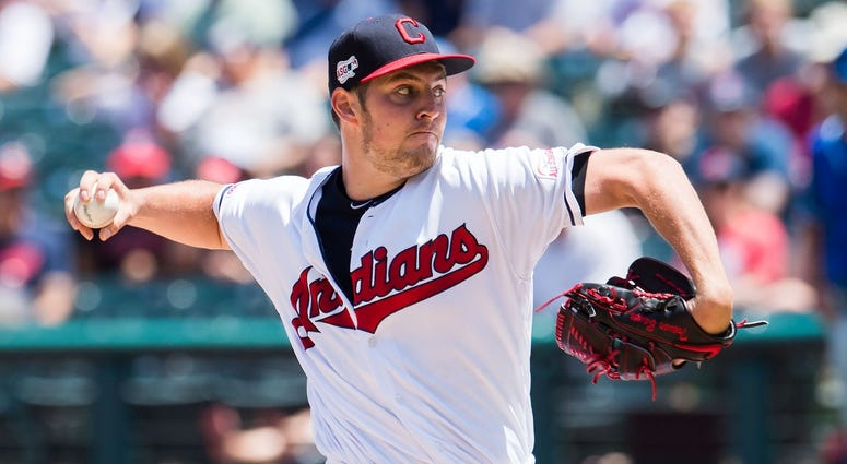 Jun 26, 2019; Cleveland, OH, USA; Cleveland Indians starting pitcher Trevor Bauer (47) throws a pitch against the Kansas City Royals during the first inning at Progressive Field. Mandatory Credit: Ken Blaze-USA TODAY Sports